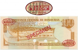 Honduras, 100 lempirów (1993-94) - WZÓR - Thomas De La Rue - Specimen No 010 -