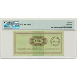 Pewex, 10 dolarów 1969 - FF - PMG 58