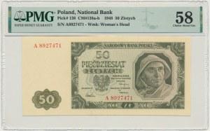 50 złotych 1948 - A - 7 cyfr - PMG 58 - RZADKI