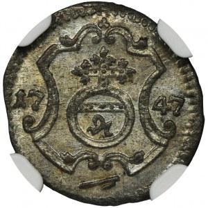 August III Sas, Halerz Drezno 1747 FWôF - NGC MS64