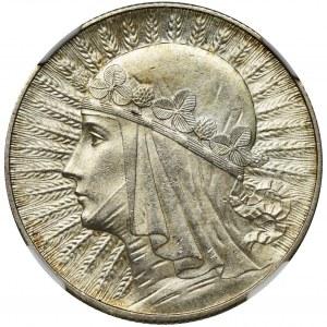 Głowa Kobiety, 5 złotych Londyn 1932 - NGC MS61