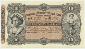 Uruguay, Banco de Londres y Río de La Plata, 10 pesos 1883