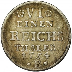 Germany, Kingdom of Prussia, Friedrich II, 1/6 Thaler Breslau 1754 B - VERY RARE