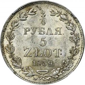 3/4 rubl = 5 zloty Warsaw 1839 MW - NGC MS62