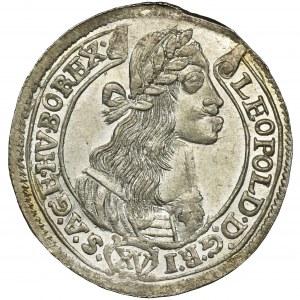 Węgry, Leopold I, 15 Krajcarów Kremnica 1675 KB