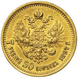 Rosja, Mikołaj II, 7 1/2 Rubla Petersburg 1897 AГ