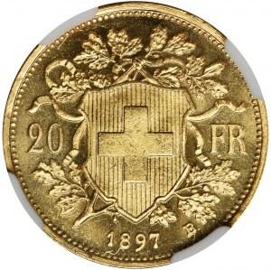 Switzerland, 20 Francs Bern 1897 - NGC MS65