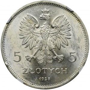 Nike, 5 złotych Warszawa 1928 - NGC MS61