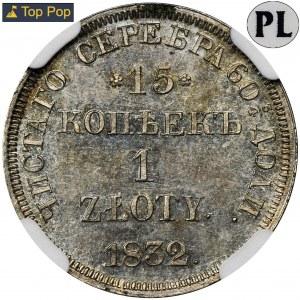 15 kopiejek = 1 złoty Petersburg 1832 - NGC MS64 PL - RZADKI - jak lustrzanka