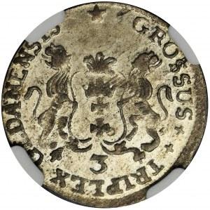 August III Sas, Trojak Gdańsk 1758 - NGC MS62