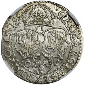 Zygmunt III Waza, Szóstak Malbork 1599 - NGC MS63 - mała głowa - PIĘKNY
