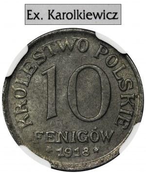 German Regency, 10 pfennig 1918 - NGC MS65 - Ex.Karolkiewicz