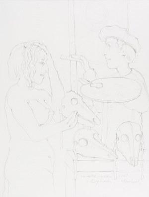 Bereźnicki Kiejstut (ur. 1935 r.), Modelka, malarz i trzy maski, 2010 r.