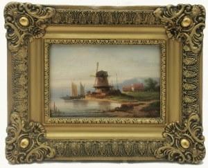 Colestin BRÜGNER (1824-1887), Pejzaż z wiatrakiem