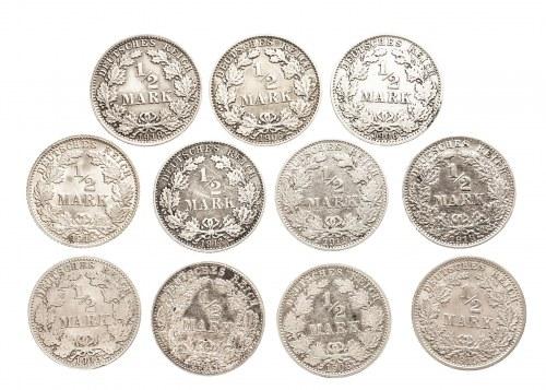 Niemcy, Cesarstwo Niemieckie 1871-1918, zestaw 11 monet 1/2 marki.