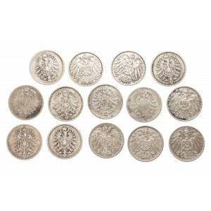 Niemcy, Cesarstwo Niemieckie 1871-1918, zestaw 14 monet 1 marka.