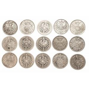 Niemcy, Cesarstwo Niemieckie 1871-1918, zestaw 15 monet 1 marka.