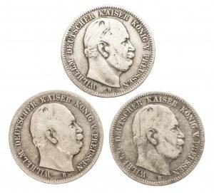 Niemcy, Cesarstwo Niemieckie 1871-1918, Prusy, Wilhelm I 1861 - 1888, zestaw 3 monet, 2 marki B, Hanower.