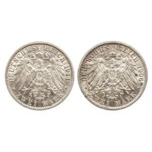 Niemcy, Cesarstwo Niemieckie 1871-1918, Prusy, Wilhelm II 1888 - 1918, zestaw 2 monet, 2 marki A, Berlin.