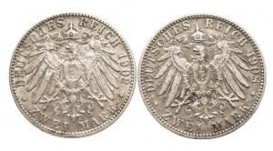 Niemcy, Cesarstwo Niemieckie 1871-1918, Bawaria, Otto 1886 - 1913, zestaw 2 monet, 2 marki D, Monachium.