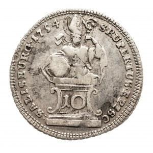 Austria, Biskupstwo Salzburg, 10 kreuzer 1754, Sigismund von Schrattenbach 1753-1771.