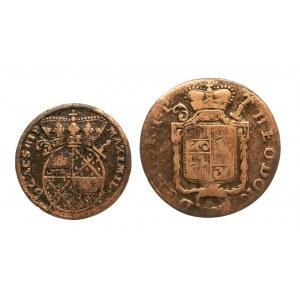 Niemcy, Biskupstwo Corvey, zestaw 2 monet: 2 pfennig 1715 oraz 4 pfennig 1787.