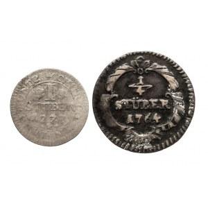Niemcy, Biskupstwo Kolonia, zestaw 2 monet 1/4 oraz 1 Stüber 1764, 1777, Maximilian Friedrich von Königseck, 1761-1784.