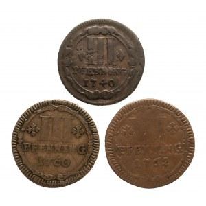 Niemcy, Biskupstwo Monastyr, zestaw 3 monet 3 pfenning 1740, 1760 6 pfenning 1762.