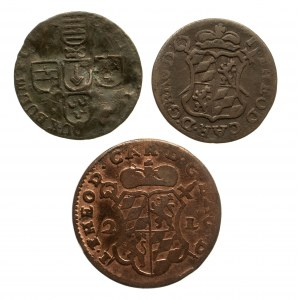 Belgia, Biskupstwo Liege, zestaw 3 monet 1 liard 1727, 1750, 2 liardy 1751.