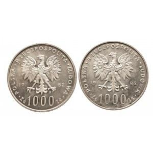 Polska, PRL 1944-1989, 1000 złotych 1982, 1983 Jan Paweł II - 2 sztuki
