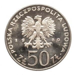 Polska, PRL 1944-1989, 50 złotych 1980 Bolesław I Chrobry, lustrzanka