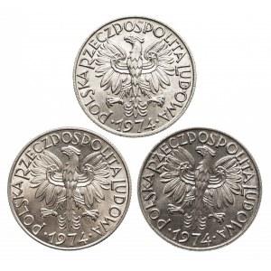Polska, PRL 1944-1989, 5 złotych 1974 - 3 sztuki