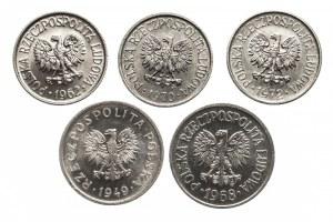 Polska, PRL 1944-1989, zestaw 5 drobnych monet obiegowych