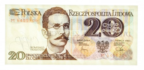 Polska, PRL 1944 - 1989, 20 ZŁOTYCH 1.06.1982, seria M.