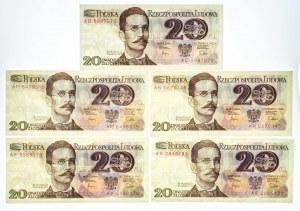 Polska, PRL 1944 - 1989, 20 ZŁOTYCH 1.06.1982, zestaw 5 banknotów.
