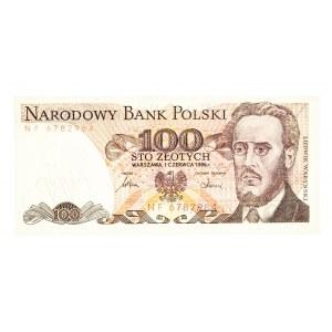 Polska, PRL 1944 - 1989, 100 ZŁOTYCH 1.06.1986, seria NF.