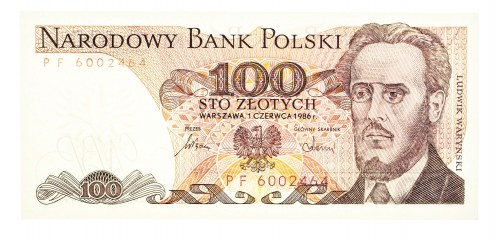 Polska, PRL 1944 - 1989, 100 ZŁOTYCH 1.06.1986, seria PF.
