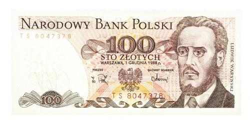 Polska, PRL 1944 - 1989, 100 ZŁOTYCH 1.12.1988, seria TS.
