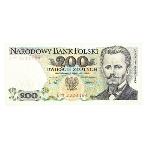 Polska, PRL 1944 - 1989, 200 ZŁOTYCH 1.12.1988, seria EM.
