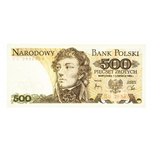 Polska, PRL 1944 - 1989, 500 ZŁOTYCH 1.06.1982, seria DU.