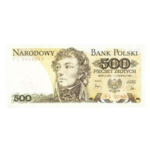 Polska, PRL 1944 - 1989, 500 ZŁOTYCH 1.06.1982, seria FL 0060052.