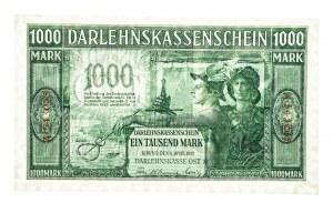 Polska, Banknoty niemieckich władz okupacyjnych (1915–1918) - Darlehnskasse Ost, Kowno, 1000 marek 4.04.1918, seria A, 6 cyfr.