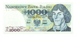 Polska, PRL 1944 - 1989, 1000 ZŁOTYCH 2.07.1975, seria BA.
