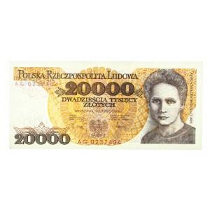 Polska, PRL 1944 - 1989, 20000 ZŁOTYCH 1.02.1989, seria AG.