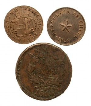 Zestaw 3 miedzinych monet z XIX wieku