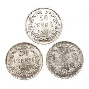 Finlandia, 50 pennia 1914, 1916, 1917 - 3 sztuki