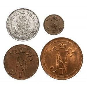 Finlandia, zestaw monet XIX-XX wiek - 4 sztuki