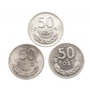 Polska, PRL 1944-1989, 50 groszy 1949, 1957, 1965 - 3 sztuki