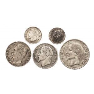 Francja, zestaw monet Napoleona III - 5 sztuk