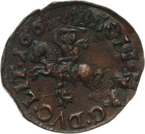 Polska, Jan II Kazimierz Waza 1649-1668, szeląg miedziany (boratynka) 1661 TLB, Ujazdów